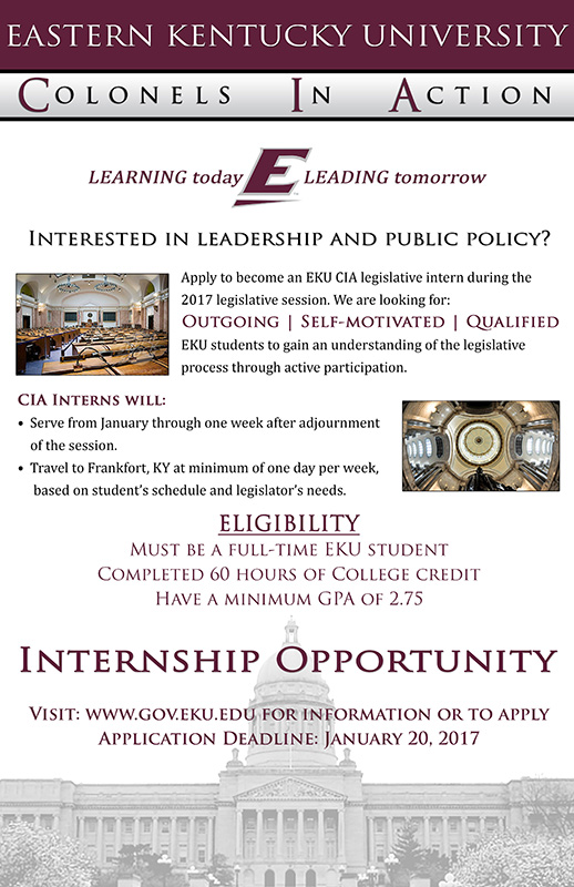 Colonels In Action (CIA) Internship: 2017 Application Information